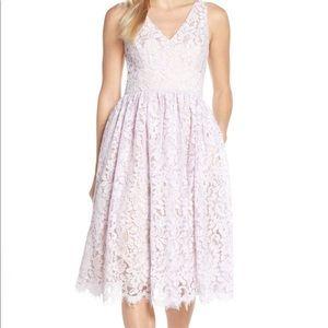 Eliza J lavender eyelash lace overlay dress, Sz 12